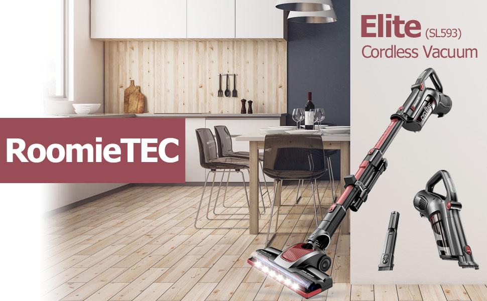 Roomie Tec Elite Cordless Stick Vacuum with portable hand vac for car pet floor carpet high suction