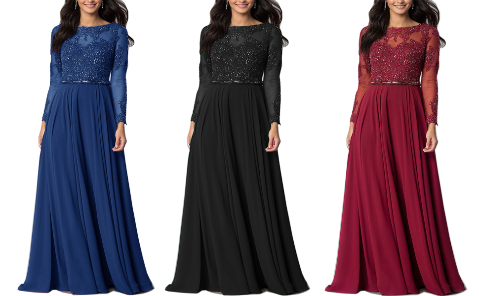 Black Blue Wine Red Maxi Dresses