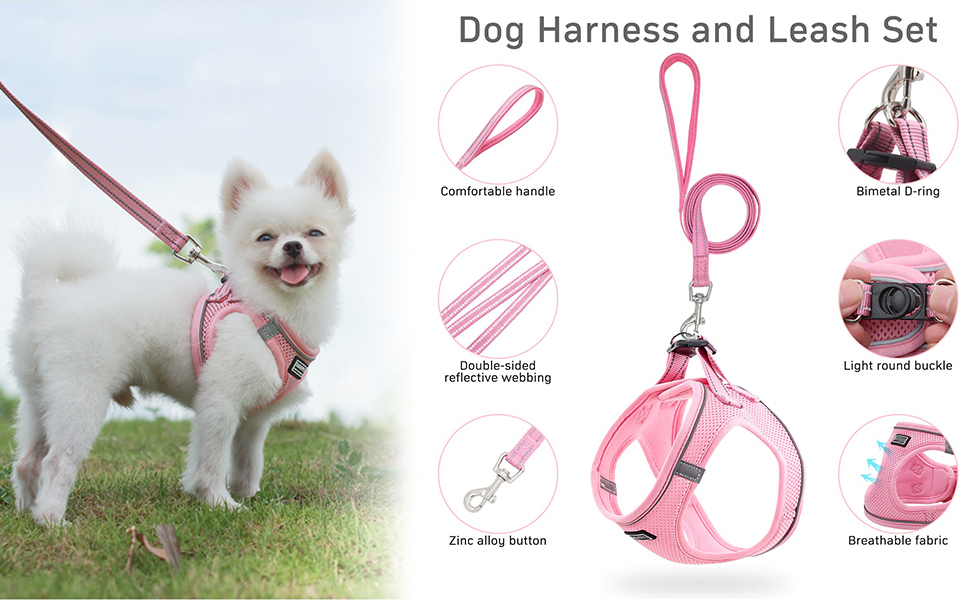 HeiYi Puppy Harness and Leash Set, Dog Harness Vest Set Reflective and Breathable Material
