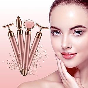 Jade Roller Face Massager Electric Nature Rose Quartz Beauty Bar Facial Roller Kit