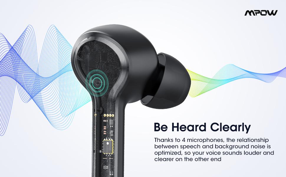Bluetooth Earphones 4Microphones