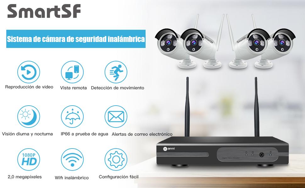 SmartSF 8CH 720P WLAN /Überwachungskamera Set mit HD NVR Kit WiFi Surveillance Systems,4x1.0 MP Megapixel Wetterfestes Wireless Outdoor Bullet IP Kameras,P2P,65ft Nachtsicht,Keine HDD