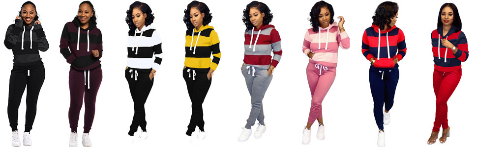 Women Stripes Sweatsuits