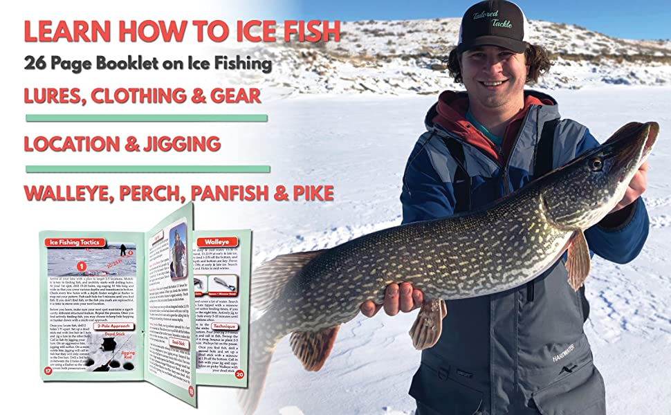 how to ice fishing kit book guide walleye perch panfish pike tailored tackle