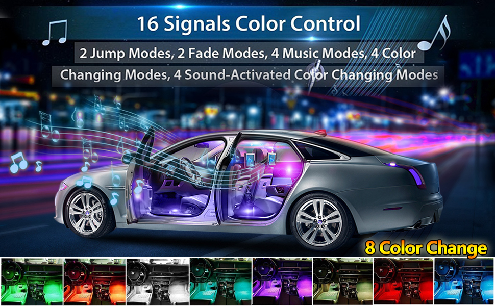 BLIAUTO Car LED Strip Light USB 48LEDs Car LED Footwell Interior Lights Atmosphere Neon Lights 4PCS 12V RGB Multicolor Underdash Lighting Kit with Remote Sound Active USB-48 Leds