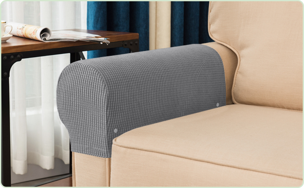 Sofa Dark Gray Couch Comfortable Couch Armrest Covers JUN-H 2 Pieces Stretch Sofa Arm Caps Armrests Covers Removable Backrest Cover Stretchable Easy To Clean For Armchair