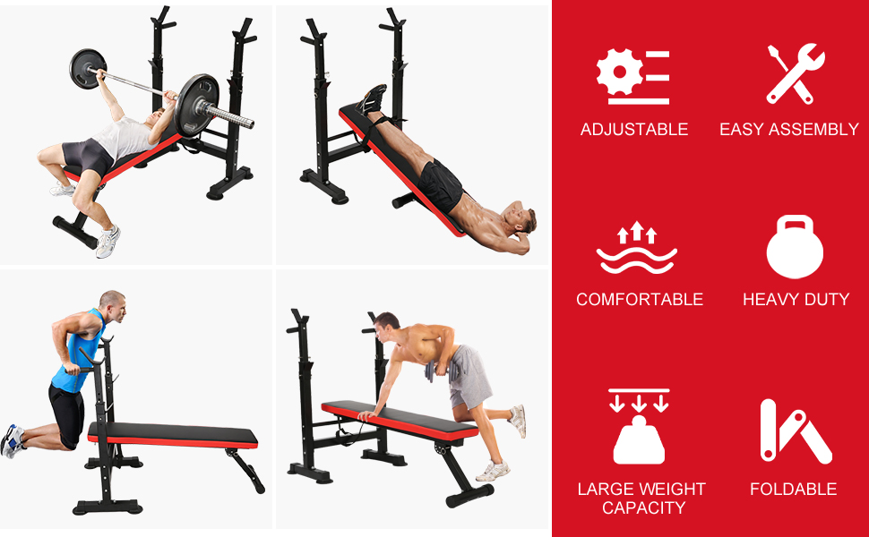 Foldable Workout Bench with Barbell Rack