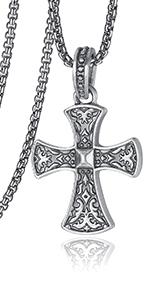 Cross Necklace for Men Viking Celtic Serenity Prayer
