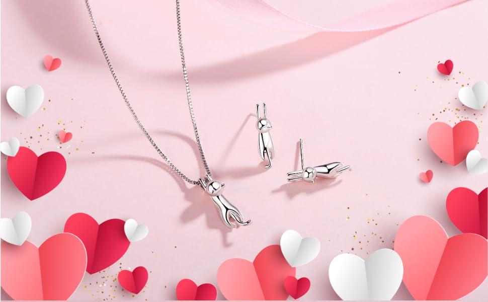 sterling silver hypoallergenic necklace stud earrings cat lovers pearl crescent moon teardrop stone