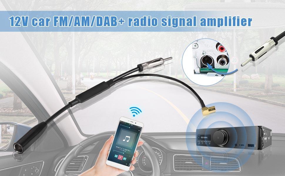 Eightwood Dab Antena + Adaptador Divisor de Antena Socket DIN SMB Antena Autoradio Dab para Blaupunkt TechniSat Pioneer Sony Kenwood Antena autoradio ...
