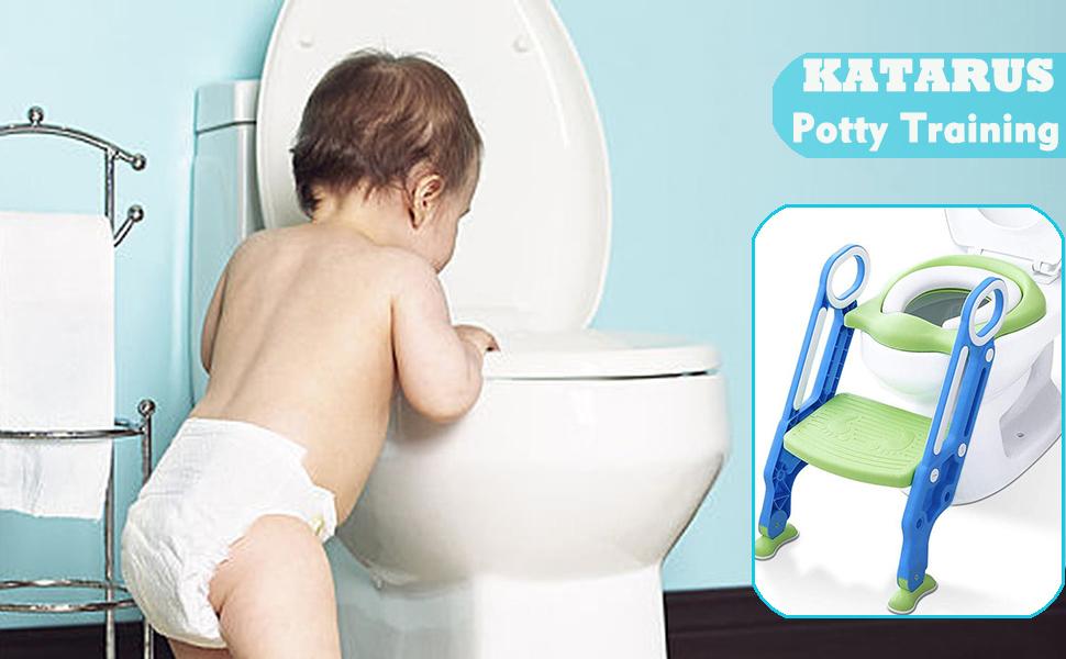 Adaptador WC ni/ños Greensen Asiento de Entrenamiento para Inodoro Azul Aro para Inodoro para Aseo Escalera Asiento del tocador de ni/ños para WC con escal/ón Plegable Orinal Formaci/ón