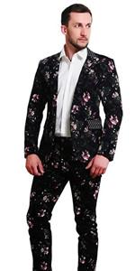 MOGU Mens 1 Button Allover Floral Cotton Blazer Suits