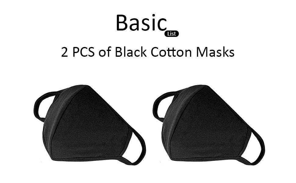 BasicList 2 PCS Black Cotton Mask