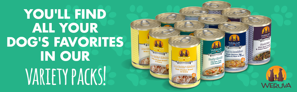 you'll find all your dog's favorites in our variety packs