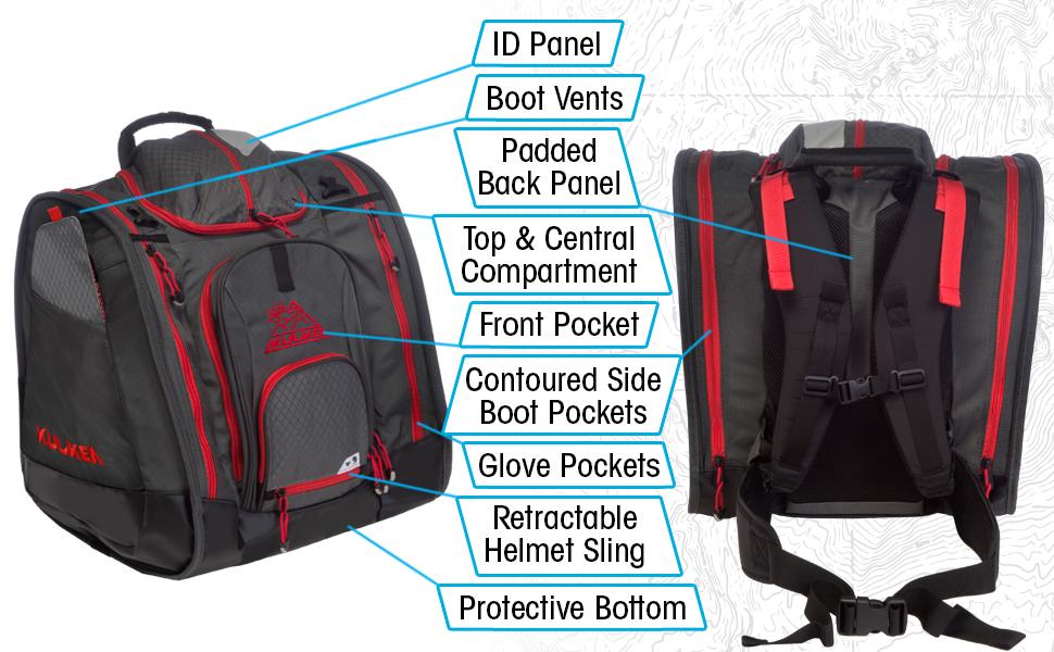 ski gear ski boot backpack