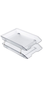 acrimet facility letter tray 2 tier front load clear crystal color