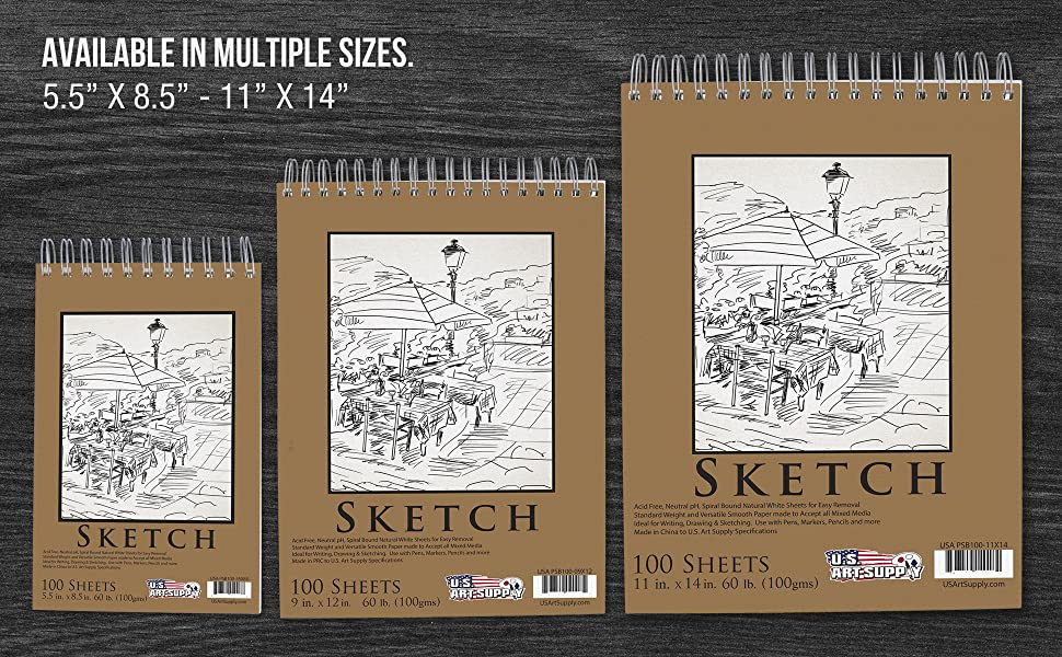 "9"" x12"" premium heavy-weight paper spiral bound sketch pad"