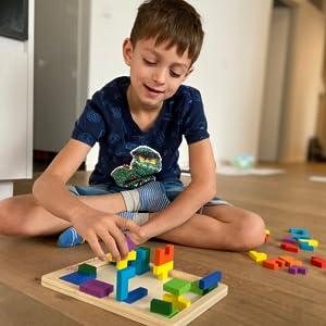 tetralino Extasticks wood puzzle baby kids boy children Russian blocks Waldorf tangram tanagram IQ