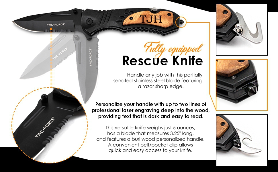 Rescue knife, knives, fully equipped, stainless steel, sharp blade, razor sharp, personalized handle