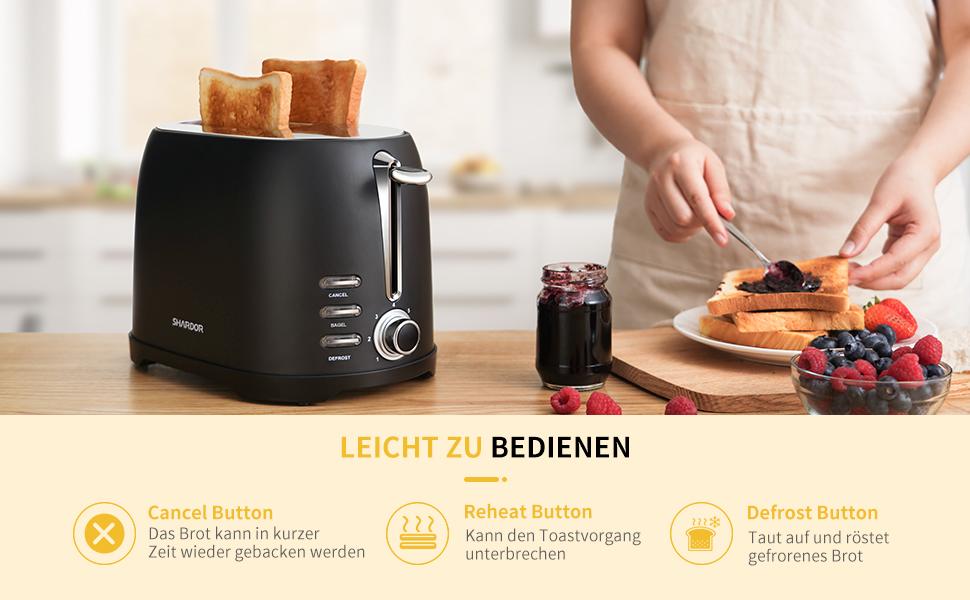 ,7 Br/äunungsstufe,800W SHARDOR Toaster Edelstahl Schwarz mit 2 extra breite Toastschlitze 35mm