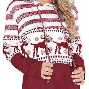Socluer Donna Casual Felpa Striscia Maglietta Manica Lunga Eleganti Tunica T-Shirt Loose Sport Hoodie Sweatshirt Sweater Maglia Tops