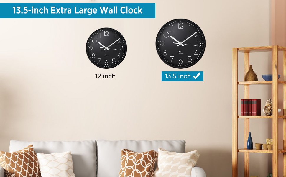 Wallarge Wall Clock 13 5 Inch Extra Large Wall Clocks Battery Operated Silent Non Ticking Wall Clocks For Living Room Décor Perfect For Kitchen Backyard Garage Office Gym Etc Kitchen Dining