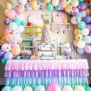unicorn rainbow table skirt for baby shower girl