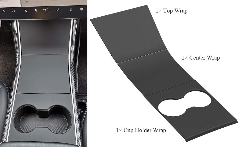 Fibra di Carbonio Kit Avvolgimento Adesivi per Console Centrale Model 3