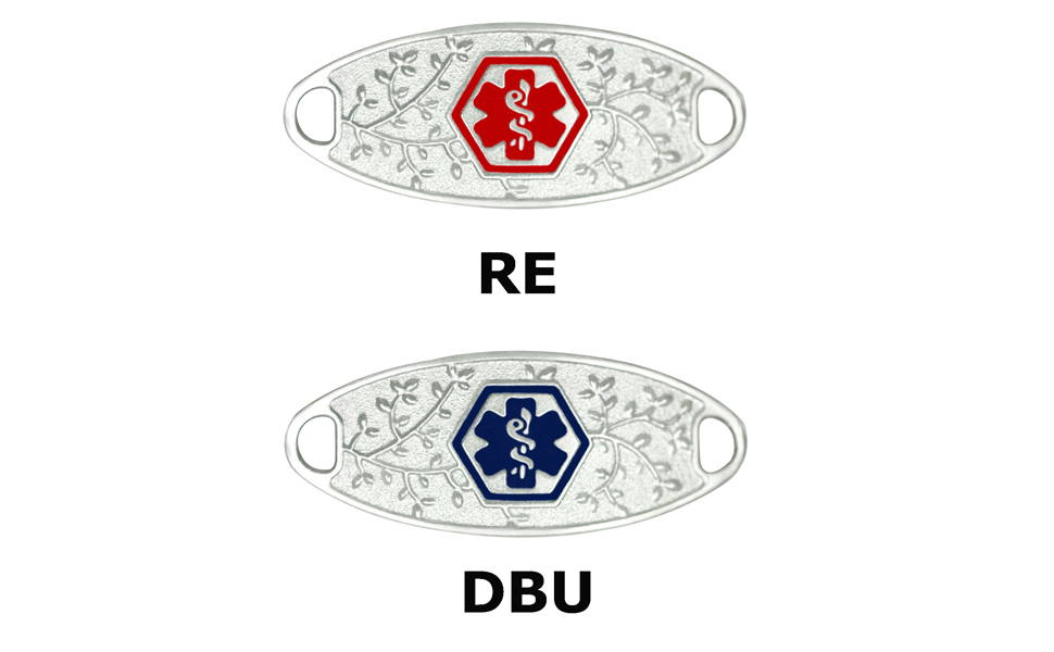 Medical ID Bracelet Vertically Connect Divoti Custom Engraved 316L Lovely Filigree Medical ID Tag for Interchangeable