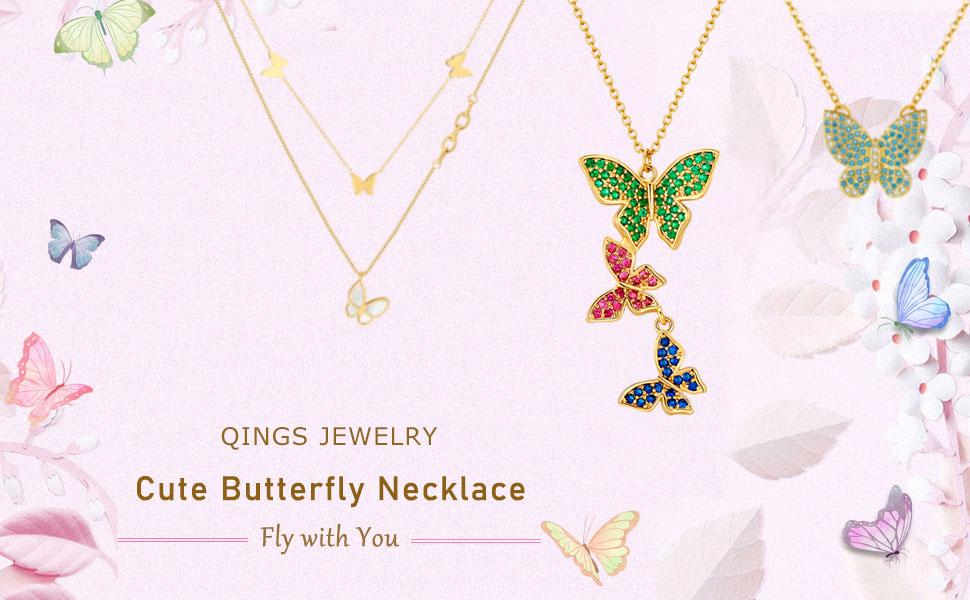 Collana Tre Farfalle Colorate