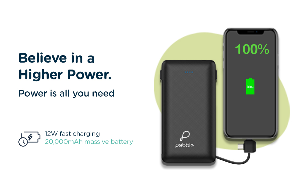 20000mAh power bank with in-built cable, TypeC, Micro, Lightning, Fast charging, 12W