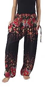 Black floral print harem hippie pants