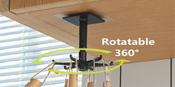 Wall Mounted 360 Rotating Coat Hanger Rotating Storage Hook Without Punching