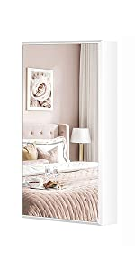 Small Mirror Jewelry Cabinet Wall-Mount/Door-Hanging Armoire