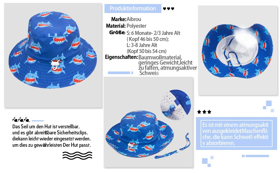 Aibrou Chapeau de Soleil pour B/éb/é,Chapeau Doux pour Enfants Chapeau de Plage Enfant UPF 50 avec Mentonni/ère et Tour de T/ête R/églable