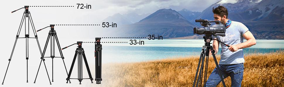 Geekoto 72 inches Fluid Head Tripod System