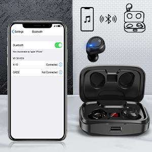 oreillettes sans fil oreillette bluetooth android écouteur sans fil noir ecouteur waterproof