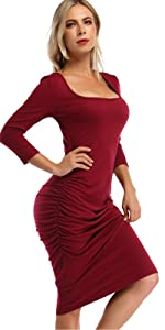 Women's Ruched Midi Bodycon Dresses Long Sleeve Sexy T Shirt Dress