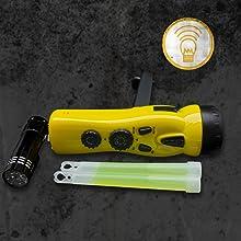 light shelter communication flashlight lightstick dyanmo radio panic alarm windup batteryless crank