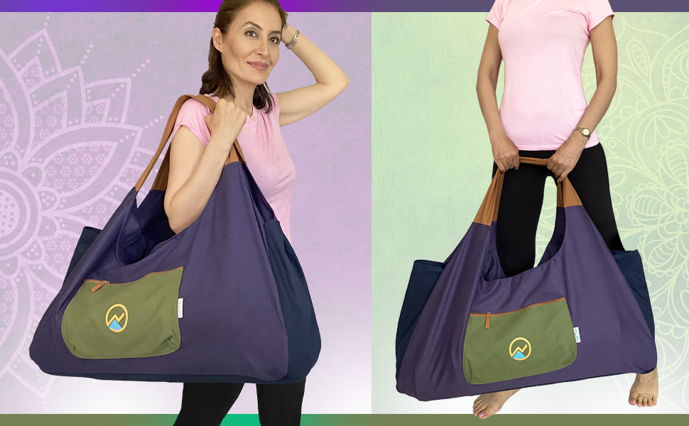 Spacious durable modern extra-large yoga mat bag with velcro straps inside