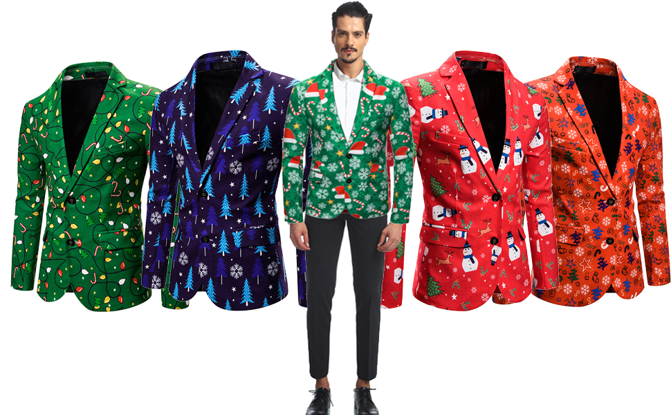 S-2XL Manooby Mens Christmas Tree Snow Printed Blazer Suit Coat Trench Jacket Long Sleeve Coat Casual Blazer Coat .