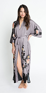 KIM+ONO Women's Charmeuse Kimono Robe Blush Rose Dusk