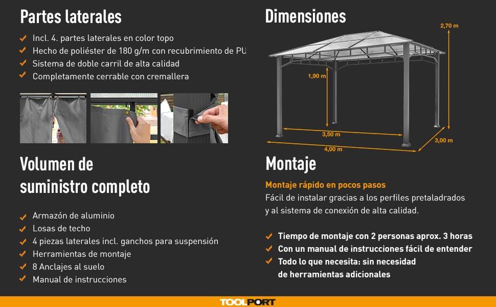 TOOLPORT Cenador de jardín 3x4m Impermeable ALU Deluxe Techo de policarbonato Pabellón 8mm Cenador 4 Lados Carpa Fiesta Gris 9x9cm Perfil: Amazon.es: Jardín
