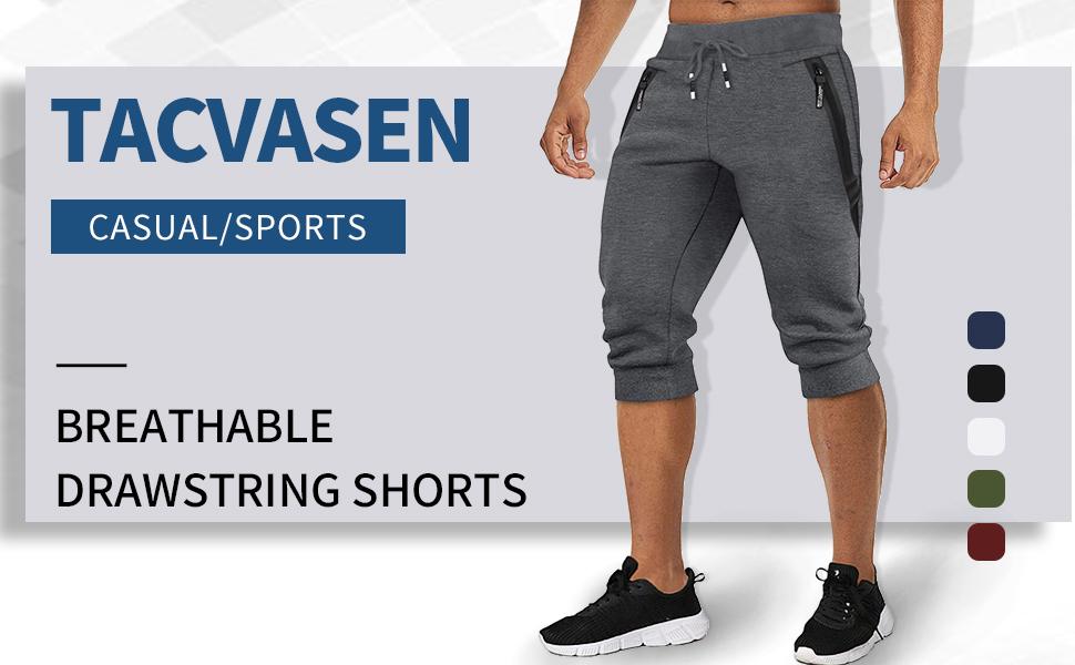 Capri Pants Below Knee Length Pants Running Shorts Multi-Pocket Capri Pants
