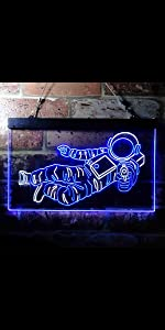 ADVPRO Dual Color LED Neon Sign Cosmos Space Astronaut Spaceman Shuttle Planet Float-ing