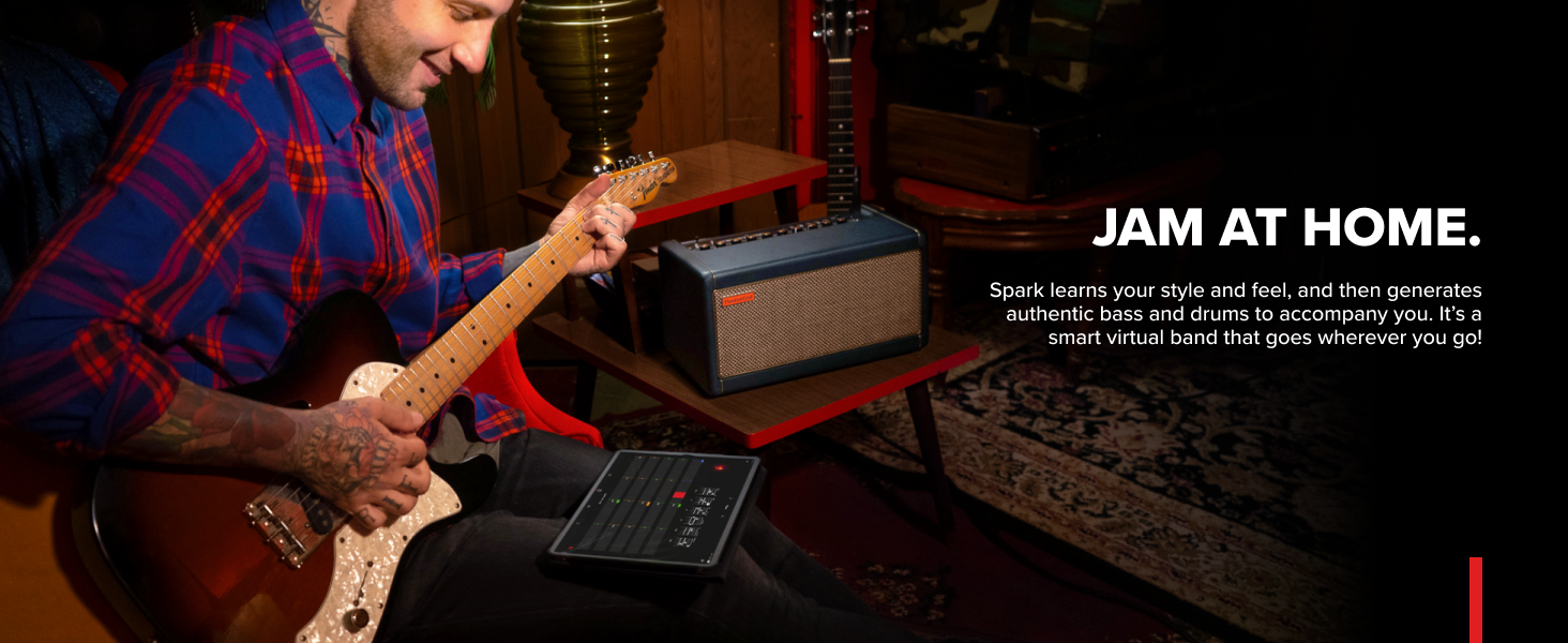Jam at Home Spark learns style and generates authentic bass drums to accompany smart virtual band