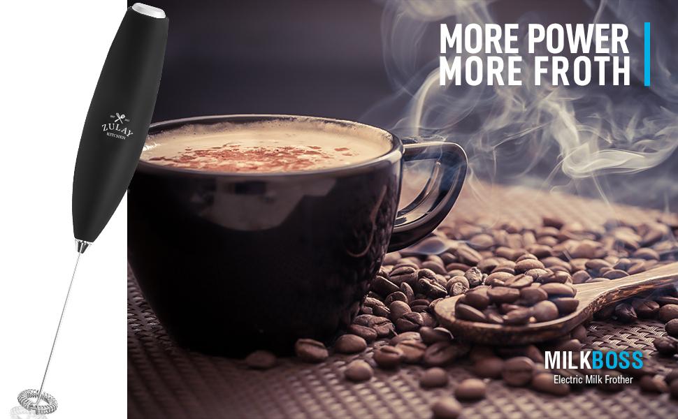 Mini-Mixer und Sch/äumer Handschaum-Maker f/ür Latte Zulay Milchaufsch/äumer hei/ße Schokolade perfekt f/ür Cappuccino Elektrischer Schneebesen f/ür kugelsicheren Kaffee Matcha Kleegr/ün Frappe