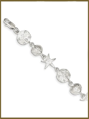 """NEW Sterling 925 Seashell Sand Dollar /& Star Fish Bracelet 7.75/"""" 20g"""