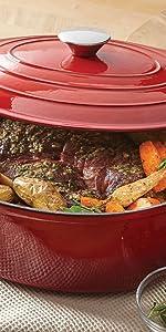 Red Enamel Casserole Dish