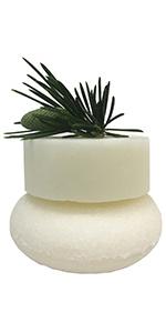 white shampoo & conditioner bars sprig of pine